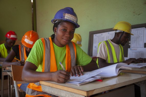 construction worker woman in classroom