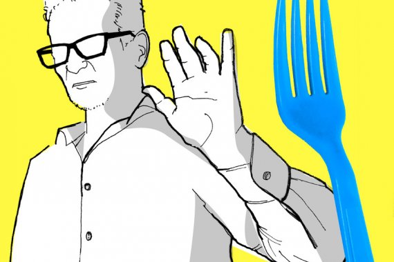 Drawing of a man with a blue fork