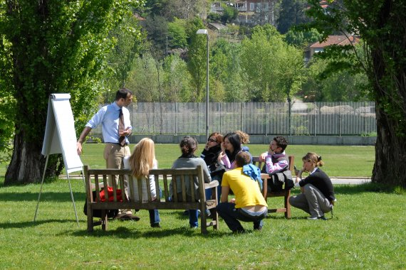 Students learning outside