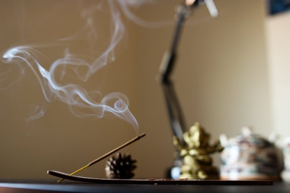 incense burning in a room