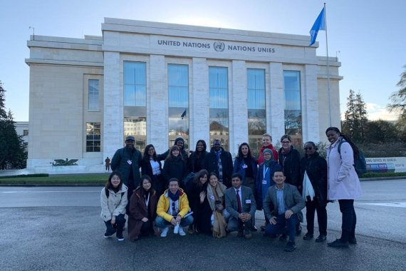 turin school of development students outside united nations in geneva